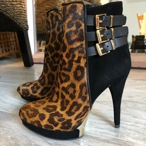 Wishbone Leopard Pony/Kid Suede Booties